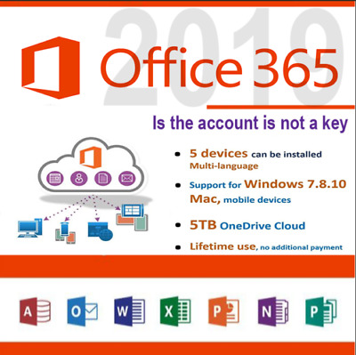 Onedrive 5TB Lifetime Account + Microsoft Office 365 2016/2019 Pro Plus 5 Device