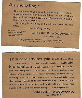 Lot of 2 Antique Quack Medicine Sample Cards - Orator F. Woodward - LeRoy, NY