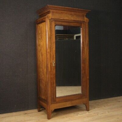 Wardrobe armoire in wood mirror antique style bedroom furniture cabinet 900