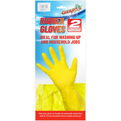 2 Pairs Large Kitchen Washing Up Gloves Marigold Yellow Rubber Gloves Kitchen