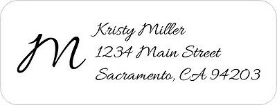 150 Elegant Classy Printed Return Address Labels With Large Initial