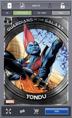 Topps Marvel Collect GUARDIANS OF THE GALAXY 3rd Printing Yondu