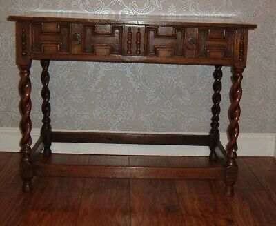 Antique Solid Oak Hall Table Side Console Dressing With Drawer Barley Twist Legs