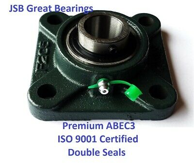 UCF206-20 Premium square flange bearings double seals ABEC3 1-1/4 bore UCF206 20