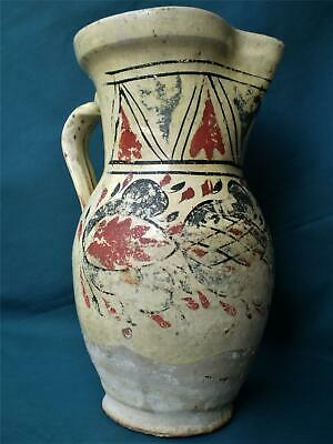 19th c. Antique Greek Ottoman Pottery Clay Canakkale, Wine Pitcher, Glazed, Rare