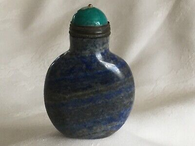 Chinese Lapis Lazuli Snuff Bottle with Turquoise Stone Stopper.