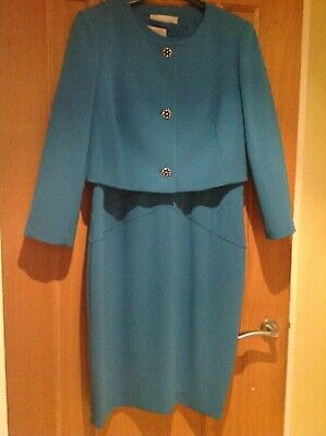 Hobbs Turquoise Blue Dress & Jacket, Wedding, Occasion Outfit, Size 14