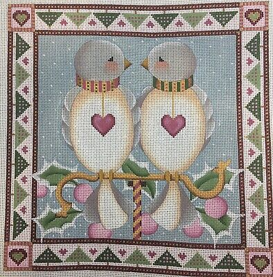 Melissa Shirley Hand Painted Needlepoint Canvas 2 Turtle Doves Christmas Lani's