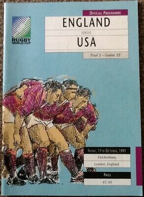 1991 RUGBY WORLD CUP - England v USA programme