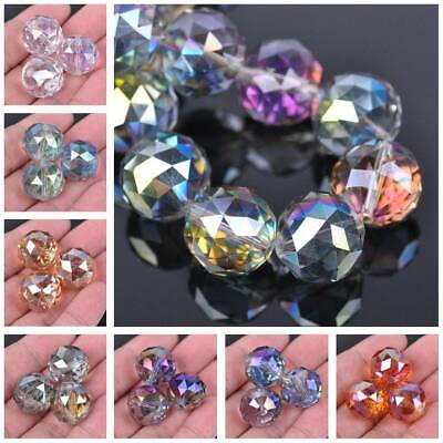 1/5pcs 20mm Round Faceted Crystal Glass Loose Spacer Beads DIY Jewelry Making