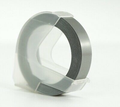 SILVER embossing tape cassette cartridge, 9mm by 3m for DYMO embosser labellers