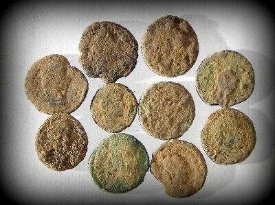 10 ANCIENT ROMAN COINS AE3 - Uncleaned and As Found! - Unique Lot 31401