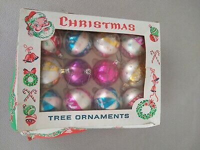 Lot Of 12 Assorted Mercury Style Glass Ball Christmas Tree Ornaments