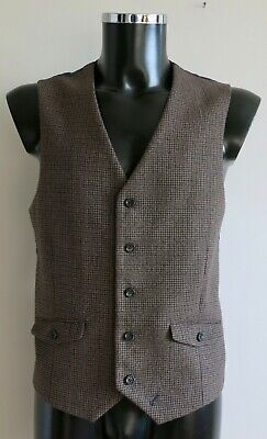 """Mens Waistcoat Taupe Grey Blue Wool Blend Fine Check Tweed By Racing Green 42"""""""