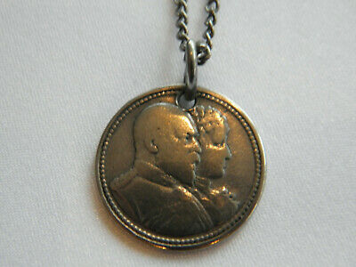 "ANTIQUE 1902 KING EDWARD V11 & QUEEN ALEXANDRA CROWNED COIN PENDANT 18"" Chain"