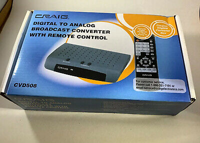 Craig Digital to Analog Broadcast Converter with Remote Control Open Box