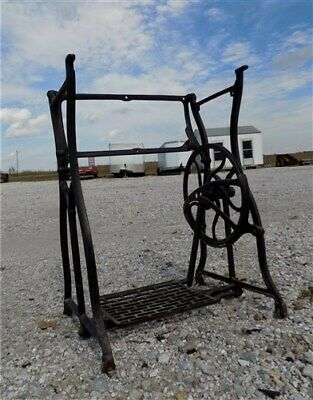 Treadle Sewing Machine Cast Iron Base Industrial Age Table Singer Steampunk ne