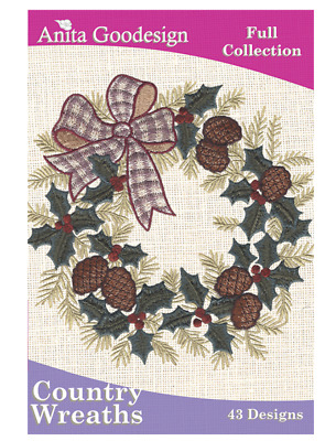 Anita Goodesign Machine Embroidery / Quilting Pattern - Country Wreaths