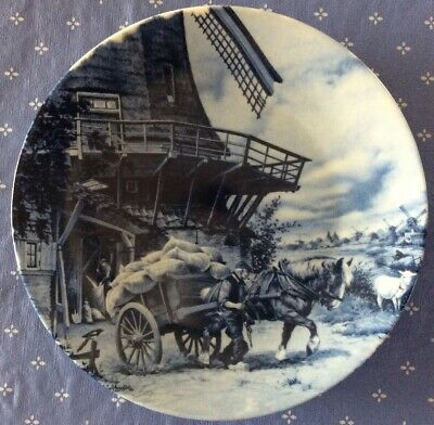 1984_Ter Steege BV Delft Blauw Plate_Blue Windmill_Hand Decorated Holland_6 5/8