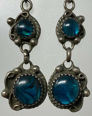 Native American Blue Iridescent Paua Shell Sterling Silver  Earrings Signed B