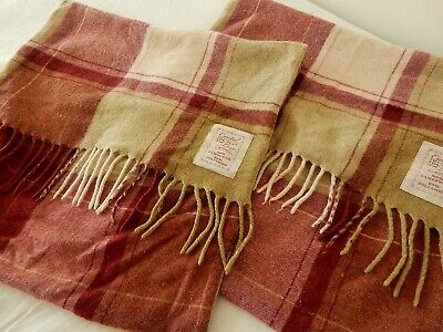 """Created Exclusively Next Tartan Fringed Lambswool Pair Cushion Covers 17 x 17"""""""