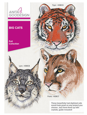 Anita Goodesign Machine Embroidery / Quilting Patterns - Big Cats *Mint*
