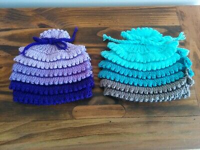 2 Cute Handmade Knitted Tea Cosies / Blue, Purple, Grey Ombre / Adjustable Size