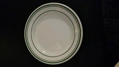 """4 Homer Laughlin Restaurant Ware Green Band 5 1/2"""" Bread And Butter Plates"""