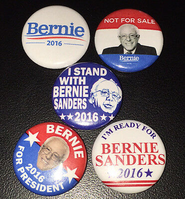 "5 Bernie Sanders 2016 For President 1"" Campaign Pin Button Pinback Badges #P002"