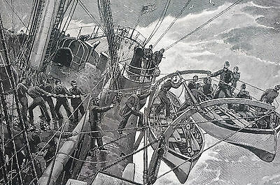 NAVAL EXERCISE LIFE BOATS ABANDON SHIP 1888 Antique Engraving Art Print Matted