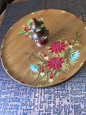 Vintage Wooden Snack Tray ~ Hand Painted Australian Flowers
