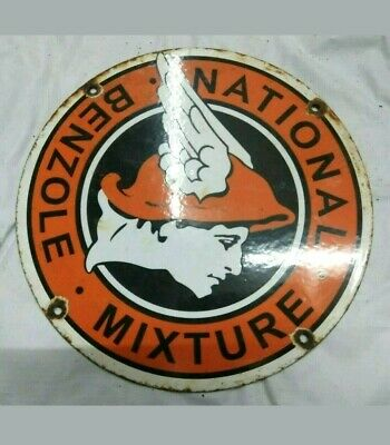old vintage BENZOLE NATIONAL MIXTURE porcelain metal sign gas oil lubester plate