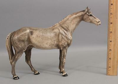 Large Antique Hubley Cast Iron White Paint Thoroughbred Horse Doorstop, NR