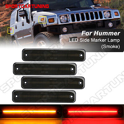 LED Front Rear Side Marker Light Lamp On Fender Smoked Lens For 03-09 HUMMER H2