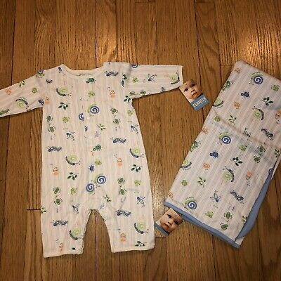 NWT Osh Kosh Baby Boy 0-3 Mo Newborn Bugs Outfit & Receiving Blanket New