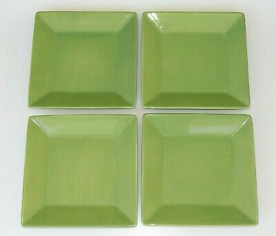 """Corsica Home Set of 4 Square Dinner Plates 10.25"""" Green Sage Jade NEW"""