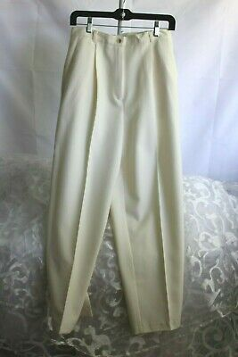 SAG HARBOR (12) Dress Pant Ivory Pleated Front Polyester Elastic Back Waist Band
