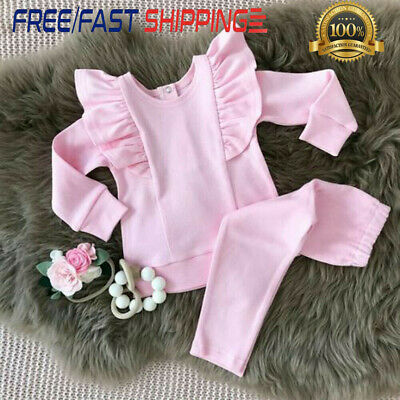 2PCS Toddler Baby Girls Autumn Clothes Set Ruffle Tops Pants Christmas Outfits