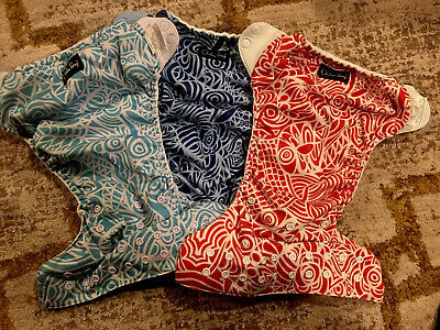 Bum Genius lot (3) One Size Cloth Diapers + Inserts Chelsea Perry Design