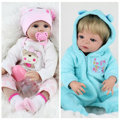 22'' Lifelike Baby Twins Reborn Dolls Vinyl Silicone Newborn Doll Boy+Girl Gifts