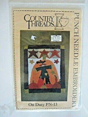 On Duty Scarecrow Punch Needle Embroidery Pattern - Country Threads #PN-13