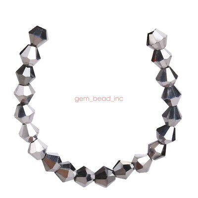 200Pcs Silver Plated 4mm Faceted Crystal Glass DIY Loose Beads Jewelry Finding C