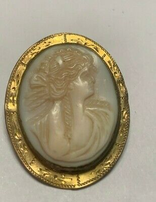 Antique Vintage Victorian Edwardian Carved Cameo Brooch Pin 356