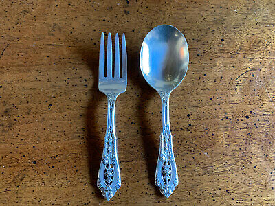 Vintage Rose Point by WALLACE Sterling Silver Baby Spoon and Fork - NO MONO