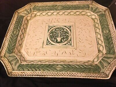 "Fitz & Floyd Gregorian Collection 16"" X 13"" Serving Platter Used Green Off White"
