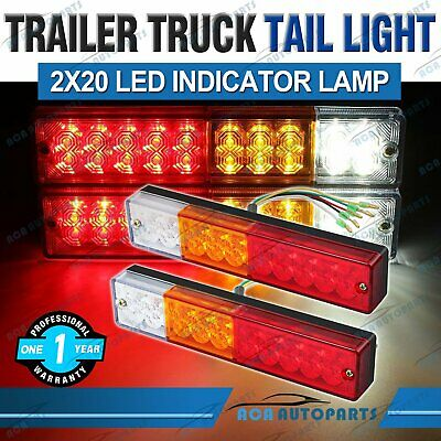 2X Waterproof Trailer Rear Tail Lights 20LED Caravan Boat Truck Indicator 12/24V