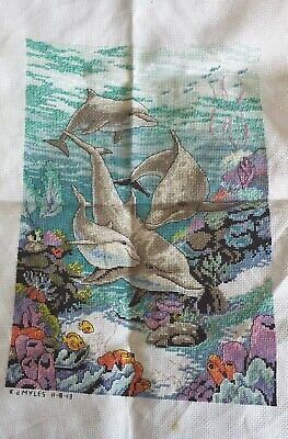 Completed cross stitch - Dolphins
