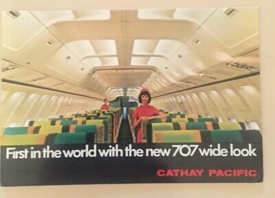1970s Postcard - Cathay Pacific / 707 Wide Look .