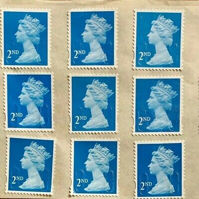 Gb 30 Second 2Nd Class Blue Stamps Unfranked Self Adhesive With Original Gum