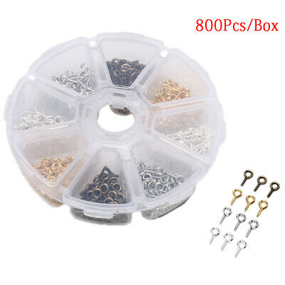 800PCS Mini Eye Pins Hooks Eyelets Screw Threaded Pendant Jewelry Clasps DIY Ev